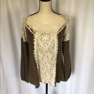 Brown and cream crochet long sleeve